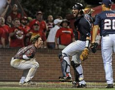 Will Allen Celebrates! 06-09-14 Ole. Miss defeats ULL to advance to Omaha for College World Series. #HT