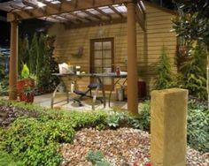 Outside Backyard Office  #DIYmarketing #officespace