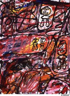 Site with four characters - Jean Dubuffet