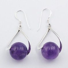 DESIGNER HANDCRAFTED EARRINGS 14mm AMETHYST GEMSTONE BEADS on 925 STERLING SILVER NOW $23.95aus .....................With FREE SHIPPING AUSTRALIA WIDE.. SAVE THIS PIN OR BUY NOW FROM LINK HERE  http://www.ebay.com.au/itm/Silver-earrings-hook-Amethyst-Spheres-Curly-925-sterling-extra-long-90mm-fashion-/182444023535?ssPageName=ADME:L:LCA:AU:1123
