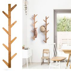 Stylish and contemporary solution to hanging up coats! This wall mounted solid wood rack looks like a geometric tree and has a natural finish. The hanger helps you transform an empty wall into a practical storage space for clothes ect. House Furniture Design, Home Decor Furniture, Home Interior Design, Home Furnishings, Wall Hangers For Clothes, Clothes Stand, Bedroom Closet Design, Room Decor Bedroom, Vestibule