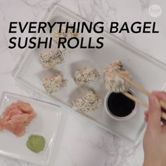 Sushi Rolls This creative Everything Bagel Sushi recipe combines flavors of our two favorite foods all into one dish.This creative Everything Bagel Sushi recipe combines flavors of our two favorite foods all into one dish. Food Network Recipes, Cooking Recipes, Cooked Sushi Recipes, Sushi Roll Recipes, Party Recipes, Healthy Recipes, Everything Bagel, Seafood Recipes, Food Videos