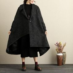 Thick Polo Collar Single Breasted Long Sleeves Black Wool Coat For Women