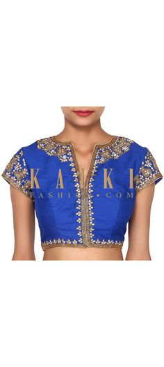 Buy Online from the link below. We ship worldwide (Free Shipping over US$100). Product SKU - 276326. Product Link - http://www.kalkifashion.com/royal-blue-blouse-adorn-in-kundan-embroidery-only-on-kalki.html