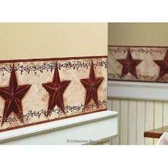 Hearts and Stars Wallpaper Border FAM65171B Primitive Scarbrough