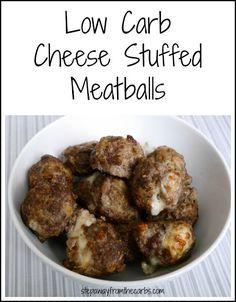 Cheese Stuffed Meatballs from stepawayfromthecarbs.com