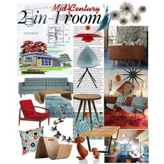 """""""Mid-Century Modern Great Room"""" by szaboesz on Polyvore"""