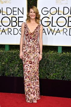 Golden Globes 2017 Red-Carpet. Laura Dern looks so pretty in this.