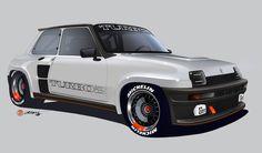 2018 Renault 5 Turbo 2 Replica Project Render by Alan Derosier transportationdesign Renault 5 Turbo, Renault Sport, Bugatti Veyron, Corsa Wind, Bike Sketch, Car Sketch, Auto Retro, Car Design Sketch, Design Cars