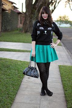She Inside Sweater, Atual Fs Green Skirt, Renner Purse, Tutu Flats