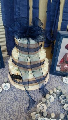 Diaper Cake with burlap, lace and sheer navy ribbon