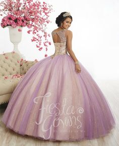 Look absolutely magical in this two-tone cap sleeve dress by House of Wu Fiesta Gowns Collection 56344 during your Quinceanera, Sweet 16 party, or for any formal event. Sparkling sequins sparsely dot this tulle ball gown. Vivid ball gown with a bejeweled corset, a lace-up back, sweetheart neckline, and two-tone tulle and sparkle tulle. Features illusion cap sleeves. House of Wu Fiesta Gowns Collection Spring 2018 Style Number: 56344 Colors: Orchid/Champagne, Dusty Rose/Champagne, W...