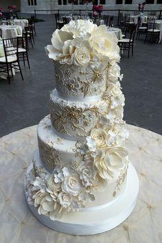 Fondant Wedding Cake with Gumpaste Sugar Flowers