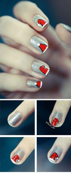 Uñas con gorritos de navidad y fondo de brillantina | Decoración de Uñas - Manicura y NailArt