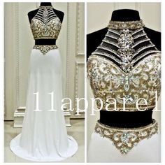 White Fashion Two Piece Woman Special Dress Beading Prom Party Evening Dresses