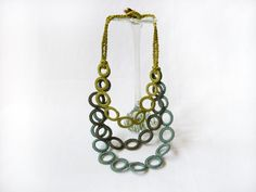 Necklace crochet cotton sage green-lime green-olive green.. Spring-summer fashion textile jewelry by Aliquid on etsy $57