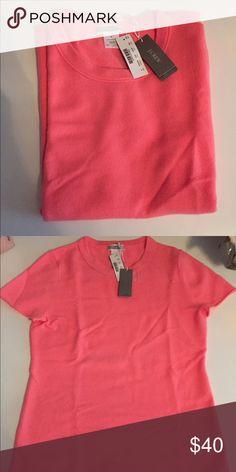 Jcrew cashmere sweater tee NWT Never been worn 100% cashmere sweater, beautiful coral pink J. Crew Tops Tees - Short Sleeve