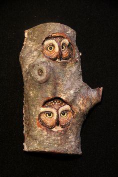 Wood Carving - Owls - Original Hand Carved Bird Sculpture - Wall Art. $95.00, via Etsy.