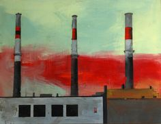 Amand Les Trois 33 x 43 inches Encaustic 2014 Currently on Display at The Cube Gallery, 1285 Wellington St. W, Ottawa until May 2015 Urban Landscape, Cube, Display, Gallery, Artist, Factories, Ottawa, Beautiful, Industrial