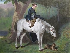 Lady on a grey hunter horse with dog Counted Cross Stitch Pattern