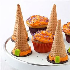 Halloween Witch Hats Recipe -Kids of all ages love finding the cake inside these cute cones. They're great for class parties. —Betsy King, Duluth, Minnesota