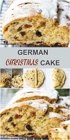 Stollen is German traditional Christmas dessert with dried fruits, nuts and almond paste. It's incredibly flavorful and delicious. Recipe makes 2 freezer-friendly loaves and this tasty dessert going to be a great addition to your Christmas festive table. Christmas Stollen Recipe, German Christmas Food, Christmas Cooking, Christmas Holidays, Recipe For Stollen, Christmas Bread, Stollen Bread, German Stollen, Holiday Desserts