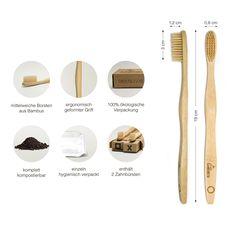 BeeClean Bamboobrush.  Ökologische Hand-Zahnbürsten aus nachhaltigem Bambus-Holz mit mittel-weichen natur-Borsten in der biologisch abbaubarer Verpackung. Vegan und 100% #plastikfrei & PBA-frei.