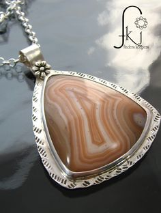 "Sterling Silver Moroccan Agate Pendant Necklace, Semiprecious Gemstone Necklace, Handcrafted 18"" Agate Cabochon Sterling Necklace, by FKJewelryDesigns on Etsy"