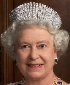 Kokoshnik Tiara worn by HM Queen Elizabeth II of Great Britian along with earring and necklace from a sapphire parure