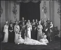 George and Marina : bridesmaids Princesses Elizabeth and Margaret