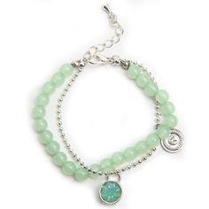 Zilverkleurige JWLZ armband met een ball chain met mint groen steentje en mint groene kralen. www.JWLZ.nl