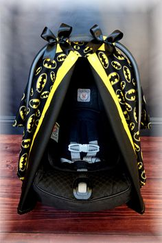Carseat BATMAN Black and Yellow Carseat Canopy - The Canopy Shoppe, Baby Car Seat Cover, Infant Carrier by TheCanopyShoppe on Etsy Baby Batman, Batman Nursery, Batman Baby Stuff, Batman Car, Baby Batgirl, Batman Baby Clothes, Baby Superhero, Batman Logo, Baby Showers