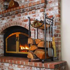 fireplace wood holder with tools