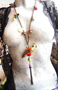 wearable art sculpture Parrot necklace Long by TheEnglishEclectic, $250.00