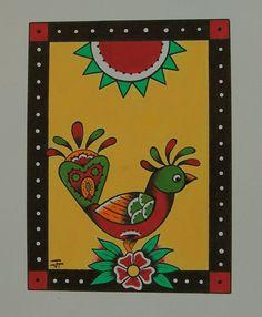 little chicken 8x10 original folk art dutch by BlueBirdFolkArt
