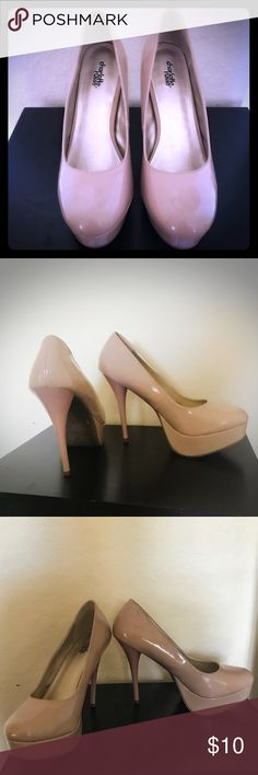 💋 Sexy daily wear platform beige high heels 💋 👠💋 The shoes are the kind you have to have in your wardrobe.  They are the ones that when you can't decide what shoes to wear these are the ones you go to because they go with everything and they are sexy and comfortable with the platform they are fabulous❤️❤️ Charlotte Russe Shoes Heels