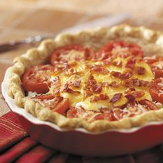 Tomato Pie  i have made this recipe before and it is a keeper for sure. very yummy you can also add other ingridients besides the tomatoes pretty much anything goes.