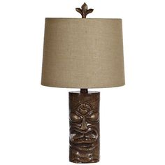 Tiki Time Table Lamp ($11) ❤ liked on Polyvore featuring home, lighting, table lamps, fabric shade, tiki lamp, fabric shades and tiki lights