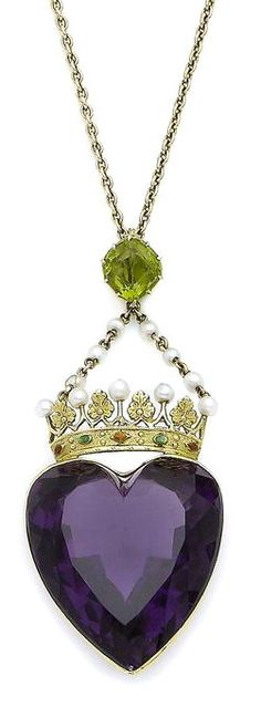 An amethyst, peridot and pearl heart pendant necklace The large collet-set heart-shaped amethyst, capped by a textured crown accented with 2.9mm pearls, green and orange enamel and foliate details, suspended from two trace-link chains interspersed with pearls, to a cushion-shaped peridot, accompanied by a trace-link chain, chain broken, pearls untested, lengths: pendant 6.8cm, chain 43.8cm, fitted case by Thomas Smith & Sons. Edinburgh (partially illustrated) (2)
