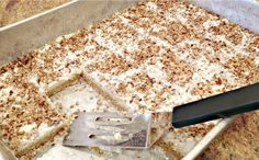 Ingredients 1 box yellow cake mix 1 stick of butter, melted 2 eggs 1 package cream cheese, softened 1 box powdered sugar, divided pecans Cream Cheese Bars, Cream Cheese Recipes, Easy Desserts, Delicious Desserts, Dessert Healthy, Cookie Recipes, Dessert Recipes, Pecan Recipes, Bar Recipes