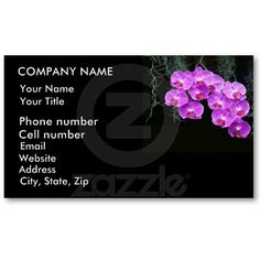 Dew-Kissed Orchids Business Cards by birdersue from Zazzle - Digital photography and design by Sue Melvin