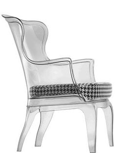 Pasha Transparent Chair with Houndstooth Cushion by Marco Pocci and Claudio Dondoli for Pedrali $450