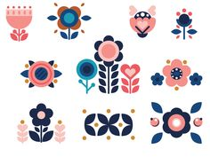 How to make 10 beautiful vector folk flowers and elements in Adobe ilustrator. Step by step free tutorial