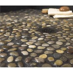 $69 DIY River Rock Pebble Stone Hand Laid Floor! | Pebble Stone, Stone And  House