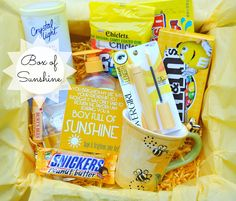 "Box of Sunshine to brighten someone's day; I'm going to keep this in mind for a friend having a ""blue"" day, or for a get-well gift. Little Presents, Little Gifts, Craft Gifts, Diy Gifts, Cute Gifts, Best Gifts, Funny Gifts, Box Of Sunshine, Diy Cadeau"