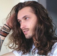 Boys Long Hairstyles, Men's Hairstyles, Beautiful Men, Gorgeous Guys, Hair Inspiration, Writing Inspiration, Natural Hair Styles, Long Hair Styles, Hair And Beard Styles
