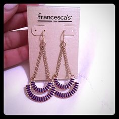 Royal blue and gold small chandelier earrings These cute earrings are the perfect accessory to any outfit. There are from Francesca's. Gold with royal blue accents. Francesca's Collections Jewelry Earrings