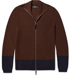 Helbers - Two-Tone Cashmere, Wool and Silk-Blend Zip-Up Cardigan