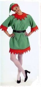 #1100 You'll be the best dressed Santa's Christmas Helper in this Elf Suit Tunic. The tunic is made of green velour and trimmed in bright red felt. Includes: - Elf hat with bell - Vinyl belt with gilt