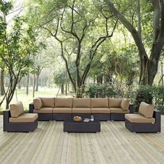 Modway Furniture Modern Convene 8 Piece Outdoor Patio Sectional Set Gather stages of sensitivity with the Convene outdoor sectional series. Outdoor Cushions, Outdoor Seating, Outdoor Sectional, Outdoor Blanket, Modern Furniture, Outdoor Furniture Sets, Deck Design, Wall Wallpaper, House Design